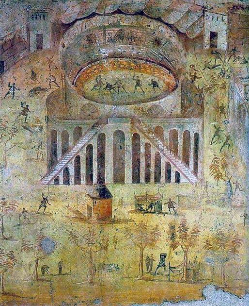"""""""El anfiteatro de Pompeya, un fresco que representa el motín entre los nucerianos y los pompeyanos"""", Casa della Rissa nell'Anfiteatro, Pompeya. (Dominio público)"""