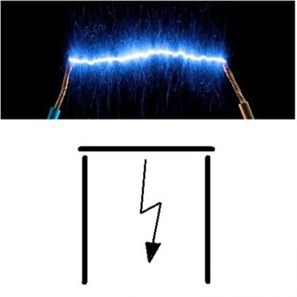 """Este """"Arco"""" (pronunciado como el antiguo Akh egipcio que significaba """"espíritu inmortal"""") es la descarga eléctrica entre dos polos eléctricos opuestos. Y la forma resultante forma el símbolo de la constante matemática Pi."""