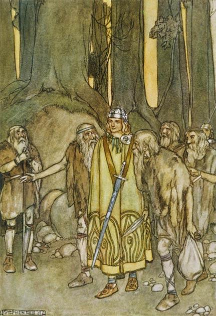 Fionn mac Cumhaill se encuentra con los antiguos criados de su padre en los bosques de Connacht; Ilustración de Stephen Reid. (Dominio público)