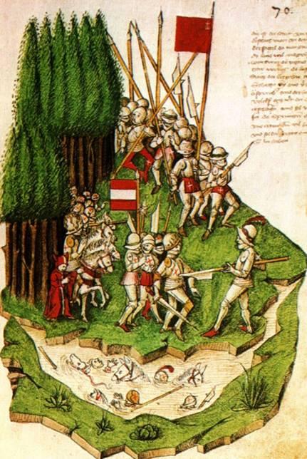 La Batalla de Morgarten, pintura de Benedicht Tschachtlan (Wikimedia Commons)