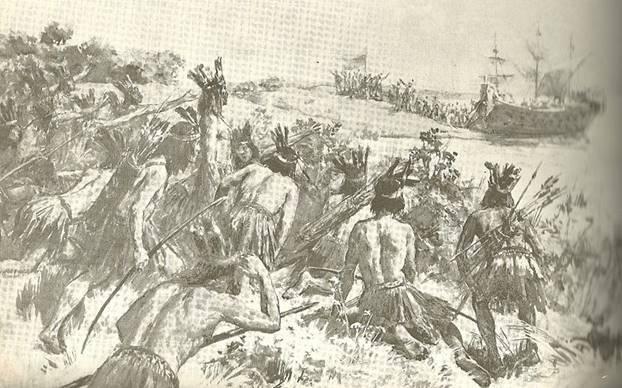 Guerreros Charrúas disponiéndose a atacar al español Juan Díaz de Solís. Ilustración de Ulpiano Checa (Wikimedia Commons)