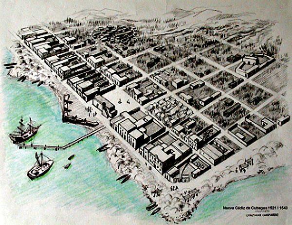 Boceto de cómo debió ser Nueva Cádiz en el siglo XVI (Wikimedia Commons)