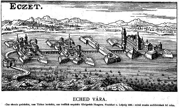 Ilustración de la ciudad de Ecsed y del castillo en que Erzsébet vivió gran parte de su infancia. (Siglo XVII) (Wikimedia Commons)