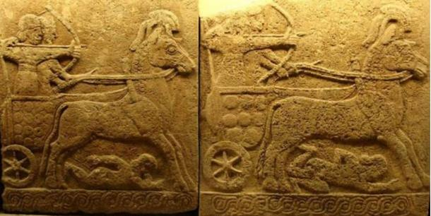 Relieve en basalto que representa un carro de guerra hallado en Karkemish, del siglo IX a. C. (estilo Hitita tardío con influencia Asiria). ¿Dejaron vehículos como estos los surcos en el antiguo valle de Frigia? (CC BY 2.0)