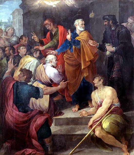 El conflicto de Pedro con Simon Magus por Avanzino Nucci, 1620. Simón está a la derecha, vestido de negro 1619.
