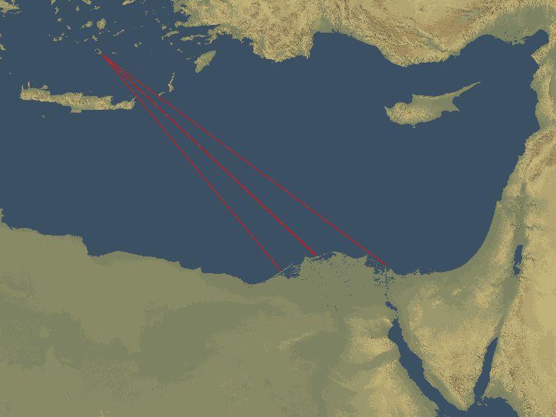 Mapa en el que se pueden observar algunas de las direcciones de las ondas provocadas por la erupción minoica que tuvo lugar en la isla mediterránea de Santorini y que habrían alcanzado Egipto, llegando a afectar los tsunamis al delta del Nilo. (Wikimedia Commons)