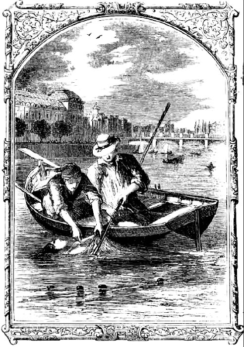 """El cadáver de la bella cigarrera siendo rescatado de las aguas del río Hudson, el 28 de julio de 1841. Ilustración del relato breve """"The Mystery of Marie Roget"""", de Edgar Allan Poe (1852) (Wikimedia Commons)"""