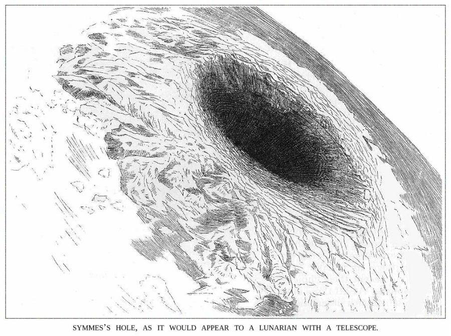 La entrada a la Tierra Hueca según Symmes, tal y como la veríamos desde la luna con un telescopio. Ilustración del Harper's New Monthly Magazine de Octubre de 1882 (Public Domain)