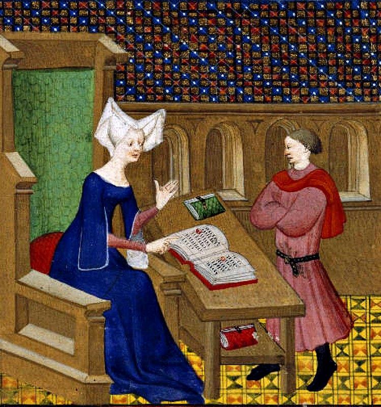 Christine instruyendo a su hijo Jean Castel. Obra atribuída al Maestro Bedford. (c. 1413). Biblioteca Británica. (Public Domain)
