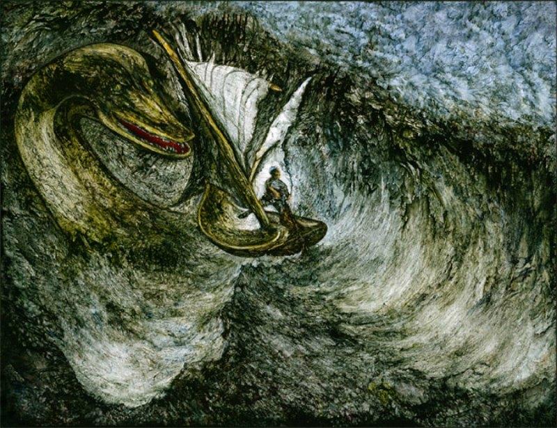 """""""El monstruo del Lago Ness"""" (1999). Óleo de Hugo Heikenwaelder. (CC BY-SA 2.5)"""