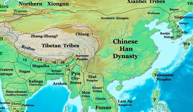 El Imperio Chino durante la dinastía Han. Al noroeste, los territorios de los Xiongnu (Thomas Lessman/CC BY-SA 3.0)