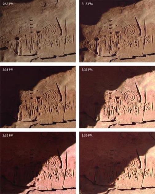 Los patrones de luz solar y sombra se mueven a través de las tallas de roca solo en ciertos momentos del día, y solo durante unos días alrededor de los solsticios y equinoccios, mostrando la sofisticación de la gente del pueblo. (Universidad Jagiellonian)