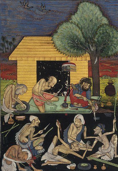 Ascetas preparando y fumando opio en el exterior de una cabaña en la India. Gouache pintado por un seguidor de Chokha 1810