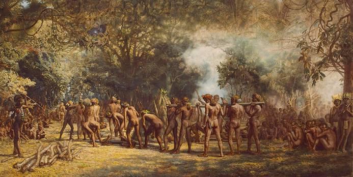 Festín caníbal en Tanna, Vanuatú, ca. 1885-9 (Wikimedia Commons)