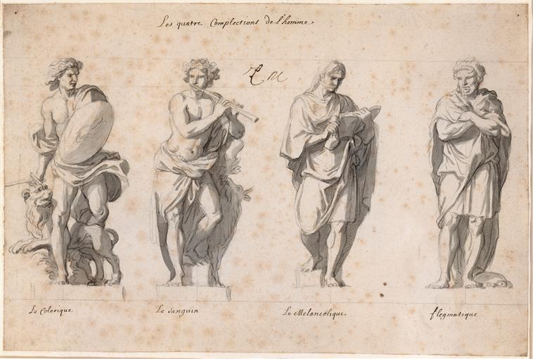 'Los Cuatro Temperamentos' por Charles Le Brun (Wikimedia Commons)- Colérico-Sanguíneo-Melancólico-Flemático