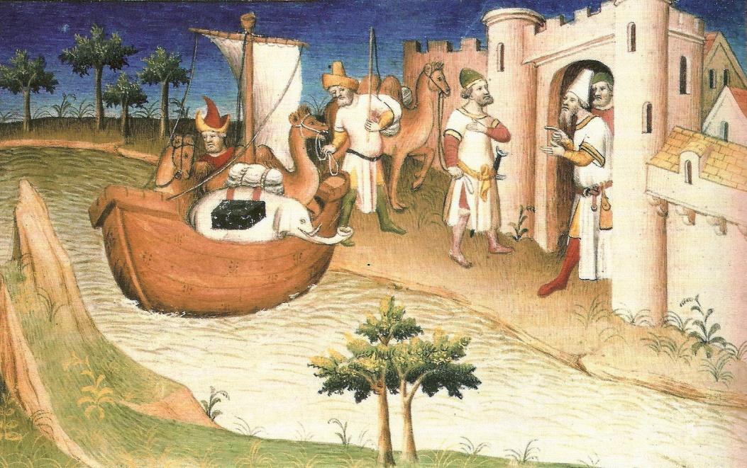 "Marco Polo viajando, Miniatura del libro ""Los Viajes de Marco Polo"" (Wikimedia Commons)"