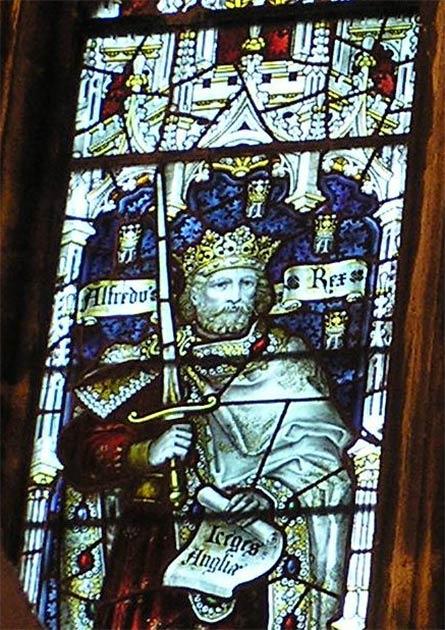 El rey Alfredo el Grande del Reino de Wessex en una vidriera de la Catedral de Bristol. (Charles Eamer Kempe / CC BY 3.0)