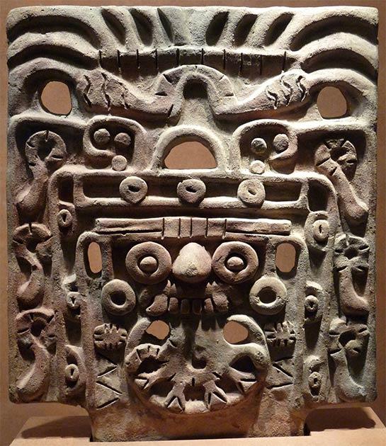 Máscara facial de Tlaloc o el Dios de la Tormenta en exhibición en el Museo Nacional de Antropología e Historia, Ciudad de México. (El Comandante / CC BY-SA 3.0)