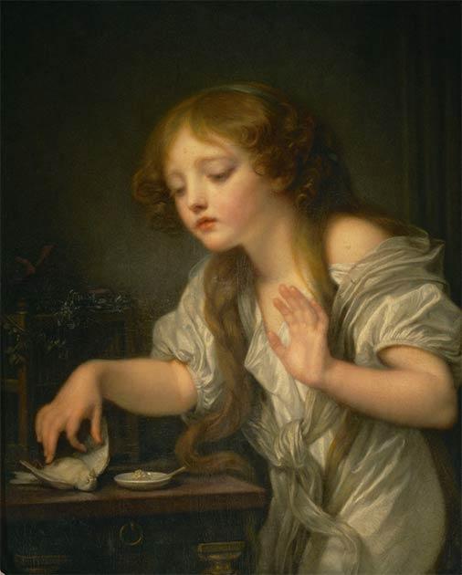 Niña llorando por su pájaro muerto, una pintura de 1759 de Jean-Baptiste Greuze (dominio público)
