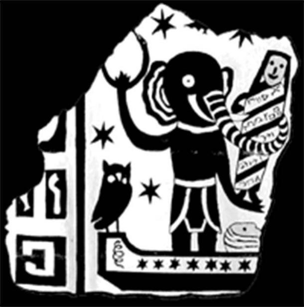 El dibujo en forma de caricatura de lo que se suponía que estaba tallado en el falso sarcófago de Hércules (Archaeology.org)