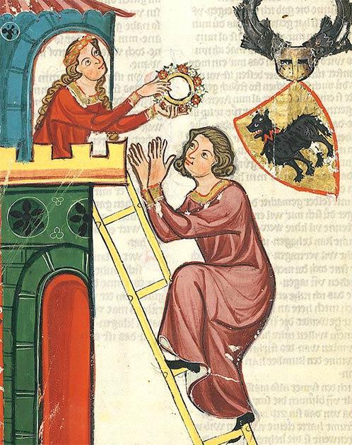Representación del conde Kraft II de Toggenburg, subiendo a una torre para visitar a su dama, del Codex Manesse. (Dominio público)
