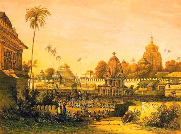 Pintura en la que se reproduce el Festival Ratha Yatra en Puri, India .ca 1840. Public Domain