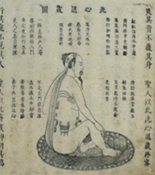 """Ilustración china en madera de Neidan """"Limpiando la mente del corazón y retirándose a la ocultación"""", 1615 Xingming guizhi 性命 圭 旨 (Punteros sobre la naturaleza espiritual y la vida corporal). (Imágenes de bienvenida / CC BY 4.0)"""