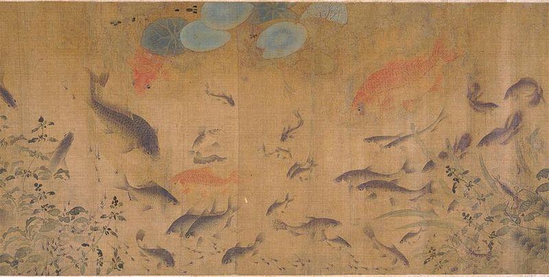 Pez nadando entre las flores que caen, obra de Liu Cai, China (Wikimedia Commons)