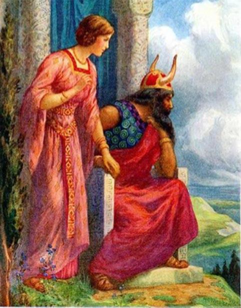 Frigga, la esposa de Odin que se muestra a su lado. (Csemerick / Dominio público)