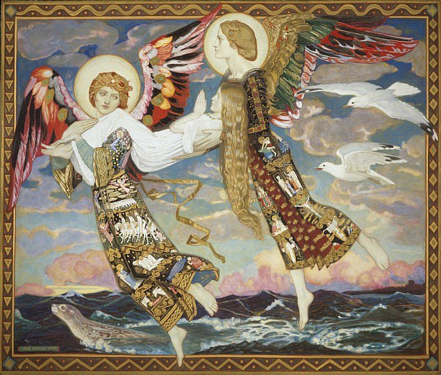 Unos ángeles toman en sus brazos a Santa Brígida, la versión Católica de la antigua diosa céltica de la luz Brigantia- obra de John Duncan