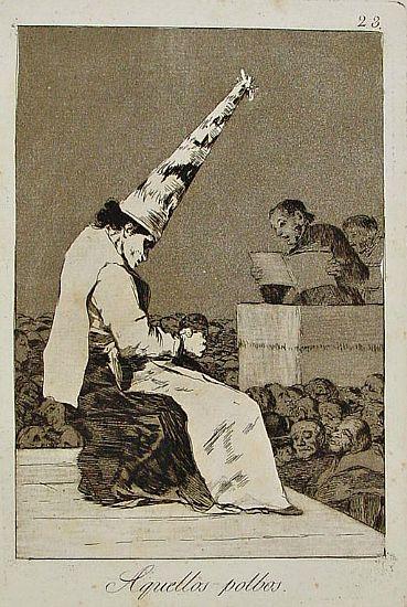 Bruja encorozada oyendo la sentencia que pronuncia un inquisidor. Capricho nº 23 de Francisco de Goya. (Wikimedia Commons)