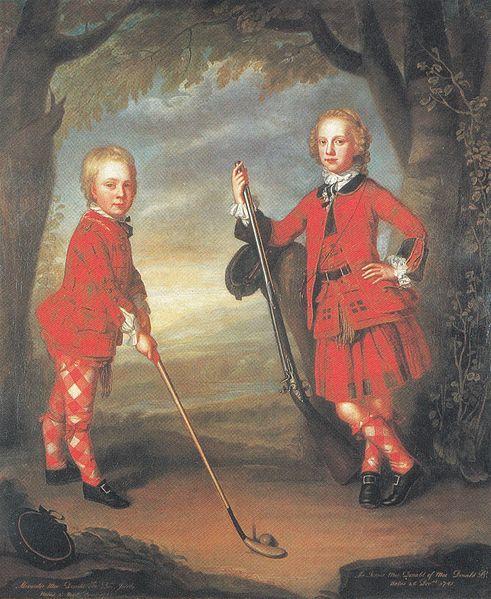 Una imagen más moderna del golf: los jóvenes MacDonald con palo y pelota, siglo XVIII (Public Domain)