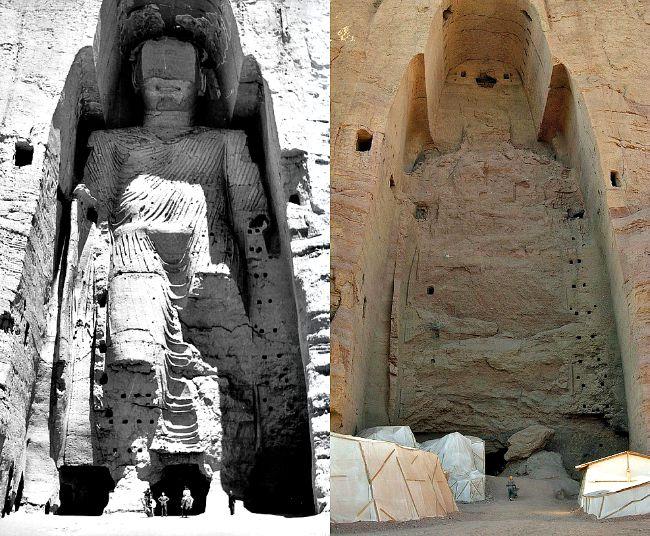 Budas de Bāmiyān, dos monumentales estatuas de Buda talladas a los lados de un acantilado en el Valle de Bāmiyān, Afganistán central, construidas alrededor de los siglos V-VI. En el año 2001 fueron devastadas con dinamita y disparos desde tanques por orden del gobierno talibán. (Wikimedia Commons)