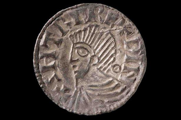 El tesoro descubierto por un galés con un detector de metales incluye peniques de plata y fragmentos de monedas de la época del rey Cnut de Escandinavia e Inglatera. (Wales Online photo)