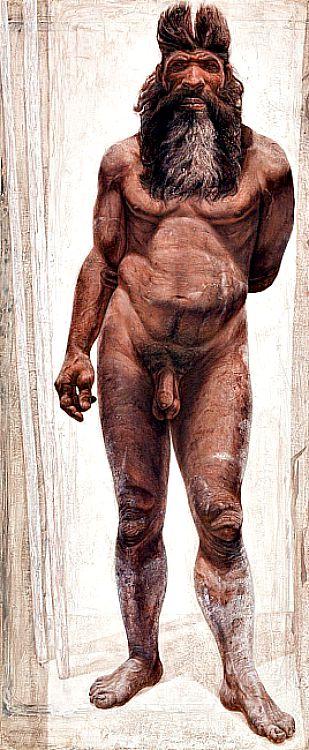 Ilustración libre de un modelo de hombre de la Sima de los Huesos (Atapuerca), de hace unos 430.000 años. (Fotografía: Kennis & Kennis/Madrid Scientific Films/El País)