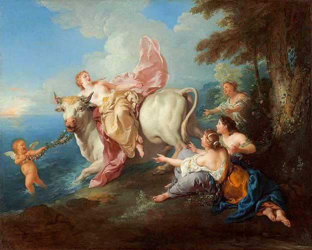 Pintura en la que aparece representada la leyenda de Europa y el Toro blanco (Zeus). Se dice que la hechicera 'Tracia' era hija de Océano y hermana de Europa. Public Domain
