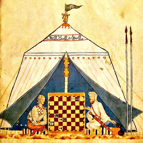 Ilustración medieval en la que aparecen un cristiano y un musulmán jugando una partida de ajedrez. (Wikimedia Commons)