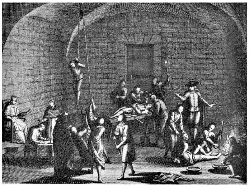 Imagen ficticia de una supuesta cámara de tortura inquisitorial. Grabado del siglo XVIII de Bernard Picart. Los grabados de Bernard Picart formaron parte de la leyenda negra construida en torno a la Inquisición española. (Wikimedia Commons)