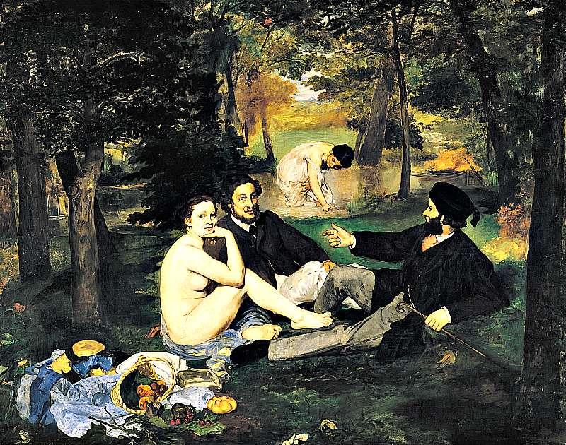 Almuerzo sobre la hierba. Obra de Édouard Monet (1863).(Wikimedia Commons)