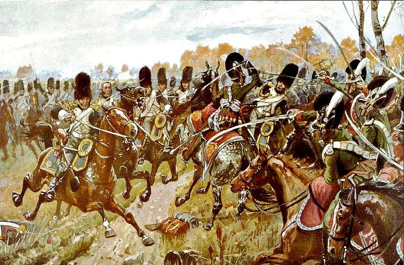 Carga de los granaderos a caballo franceses contra la caballería ligera bávara en uno de los momentos decisivos de la batalla de Hanau. Autor Richard Knötel (Wikimedia Commons)