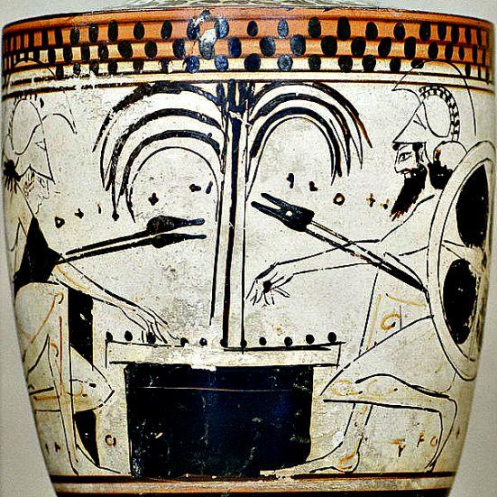 Dibujo de un ánfora griega en la que puede verse a Aquiles (izquierda) y Áyax (derecha) jugando una partida de Petteia. Museo del Louvre. (Wikimedia Commons)