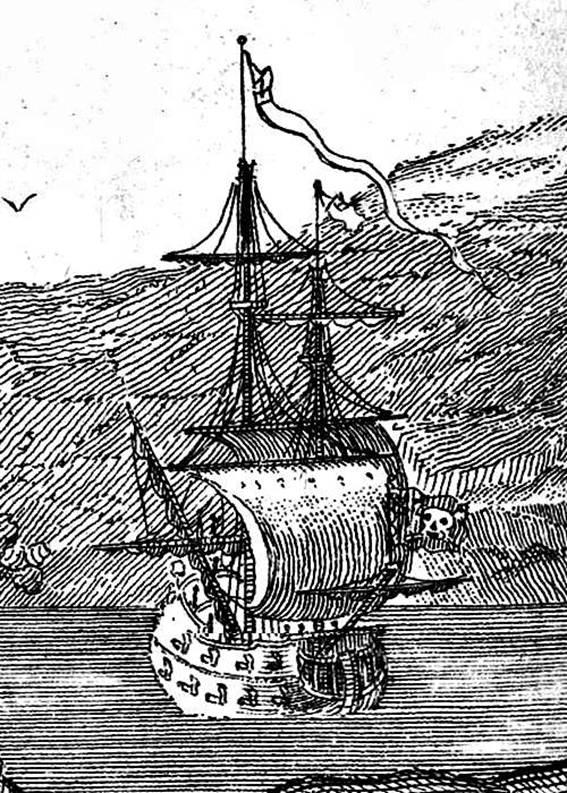 "Dibujo del barco de Barbanegra, ""La Venganza de la Reina Ana"". (Wikimedia Commons)"