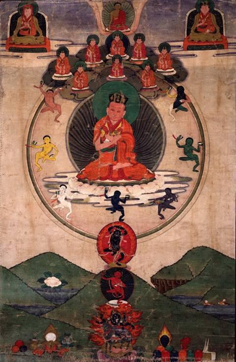 El Yoga probablemente se propagó desde el Valle del Indo a otras regiones de la India, el Tibet, Nepal, y finalmente al mundo entero en la época moderna. En la imagen, pintura tibetana del siglo XIX que muestra a Karmapa Mikyo Dorje en plena meditación. (Wikimedia Commons)