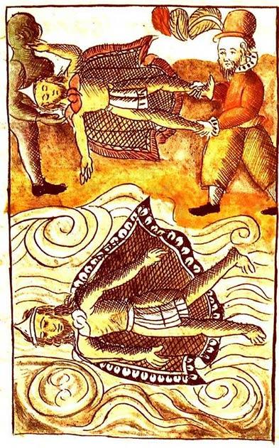 Españoles desechando los cuerpos de Moctezuma e Itzquauhtzin en el Códice Florentino. (Dominio público)