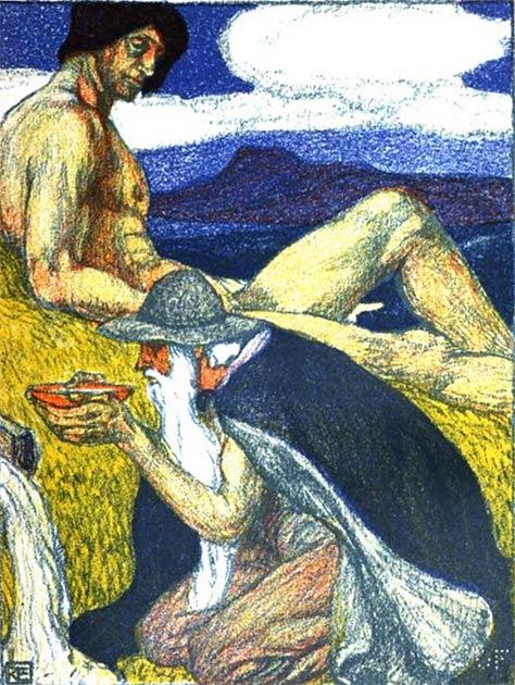 Portada ilustrada de una edición del siglo XVIII de la Prose Edda, el antiguo manuscrito islandés nórdico, que se supone que fue escrito o compilado por Snorri Sturluson. (Dominio público)