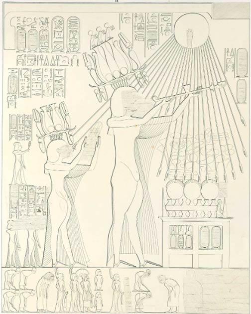 """Imagen de Akhenaton y Nefertiti haciendo una ofrenda a Atón, tomada de la tumba de Panehsy en Amarna. Akhenaton y Nefertiti usan coronas de plumas nuevas y elaboradas con discos solares, cobras protectoras y cuernos de carnero. Estas coronas de hemhem, o """"Coronas de gritos"""", se asociaron con el alegre sol naciente y el renacimiento, y sus cuernos de carnero recuerdan a los cuernos del shofar judíos modernos. (Lepsius / Dominio público)"""
