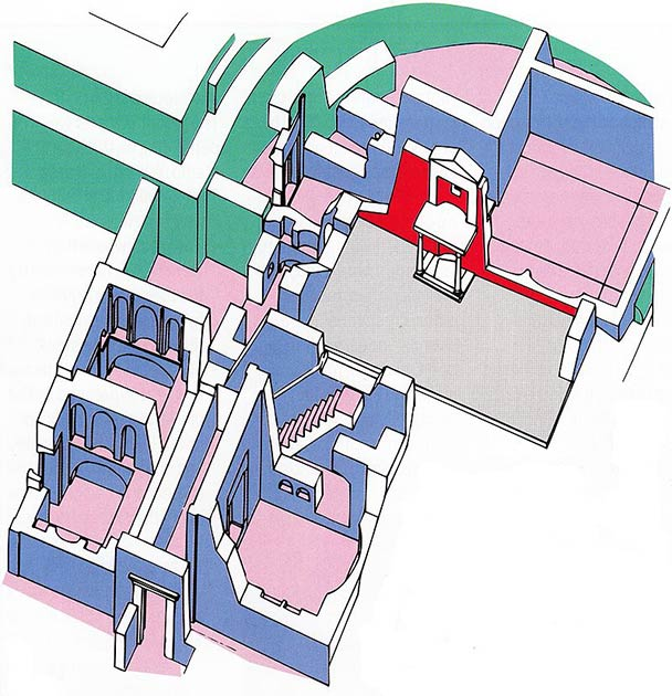 """Una reconstrucción del área alrededor de la """"tumba"""" del apóstol Pedro en la Basílica de San Pedro: El """"Trofeo de Gayo"""" y el Muro Rojo (rojo); Tumbas preconstantinianas (azul); Campo P (gris); el ábside de la antigua basílica (verde). (Mogadir / CC BY 3.0)"""