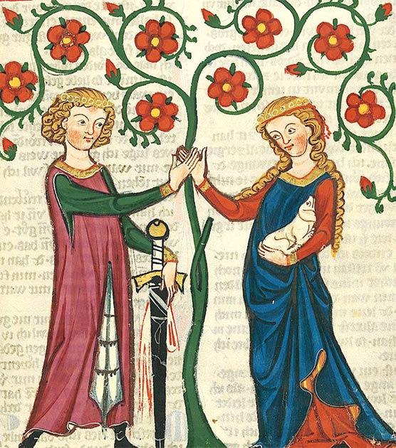 Amantes en el Codex Manesse. (Dominio público)