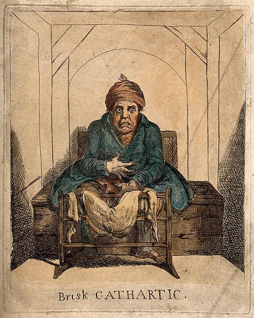 Un hombre enfermo en el inodoro, después de tomar un laxante, en la época medieval. Como comer en exceso era común en estos tiempos, también lo era el uso de laxantes. (Ver página del autor / CC BY 4.0)