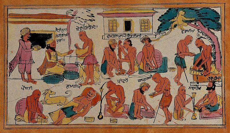 Ascetas Sikh comportándose indebidamente-drogas-pereza-mendicidad-litografia-color